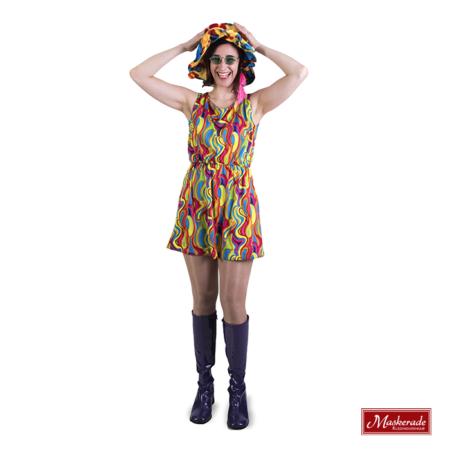 Multikleuren korte hippie jurk met print