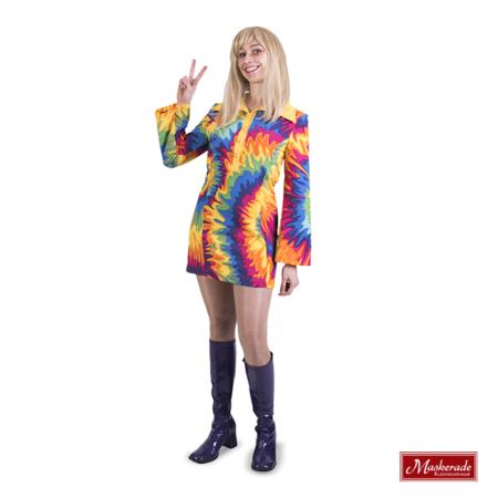 Hippie jurk met gele kraag