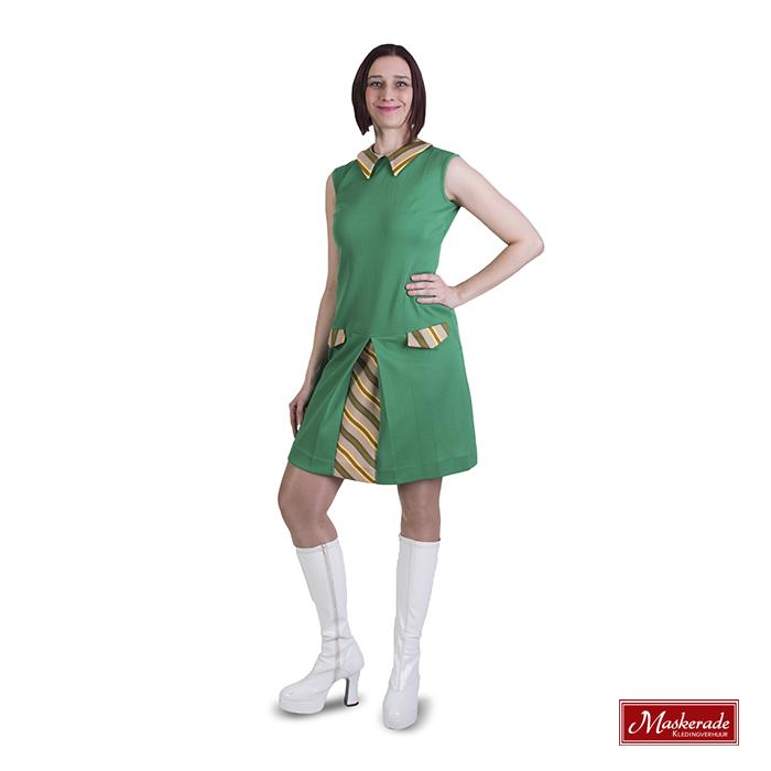 Hooggesloten groene Trevira jurk