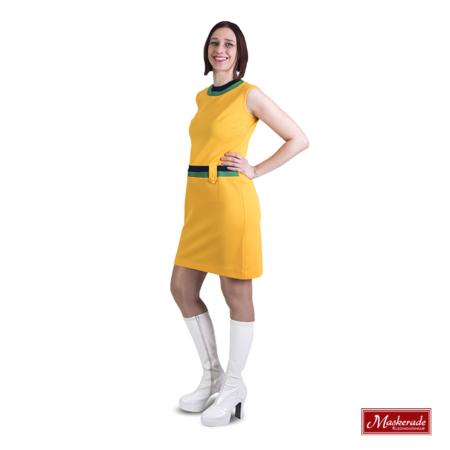 Hooggesloten gele Trevira jurk