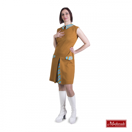 Bruine hooggesloten Trevira jurk