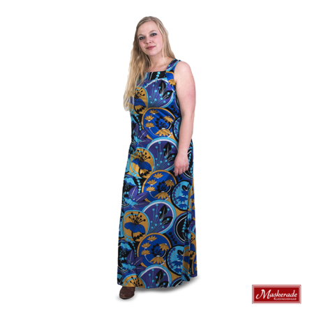 Lange blauwe hippie jurk met bloemenprint
