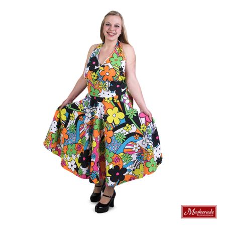 Multi Kleuren hippie jurk met bloemenprint