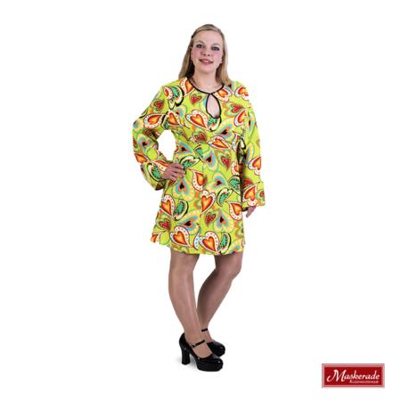 Gebloemde felgroene hippie jurk