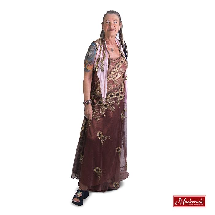 Lange gouden hippie jurk met bloemen