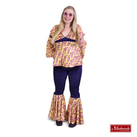 Gele hippie blouse en paarse broek