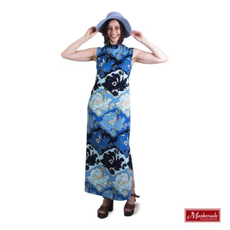 blauwe hippie jurk