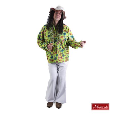Groene hippie blouse met witte broek