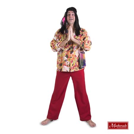 Gekleurde hippie blouse met rode broek