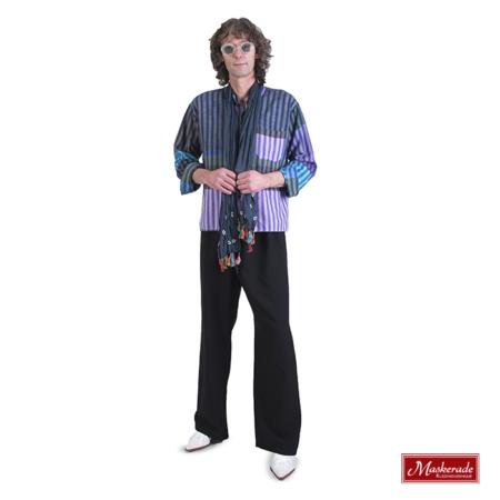 Gestreepte hippie blouse met zwarte broek