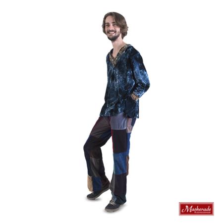 Blauw hippie shirt met gekleurde broek