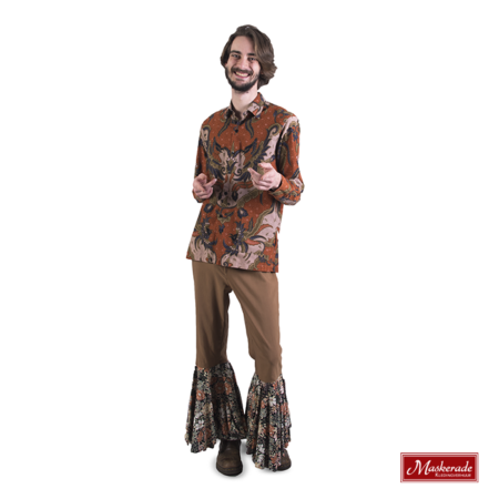 Batik hippie blouse met bruine broek