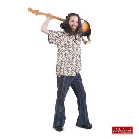 Hippie blouse met print en blauwe broek
