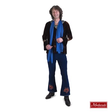 Bruin hippie shirt met blauwe broek