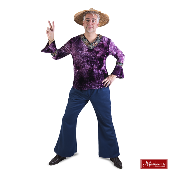 Paars hippie shirt met blauwe broek
