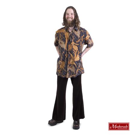 Bruin batik hippie shirt met bruin fluwelen broek
