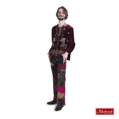 Bordeaux fluwelen hippie hes met ribbroek