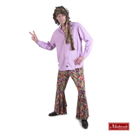 Lila hippie blouse met roze bloemetjes broek