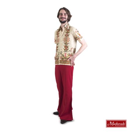 Lichtgroene hippie blouse met rode broek