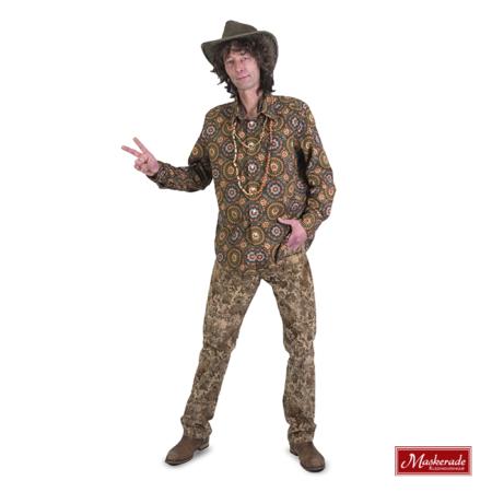 Hippie bloemetjes blouse met creme broek