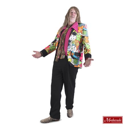 Hippie jas en zwarte broek met roze blouse