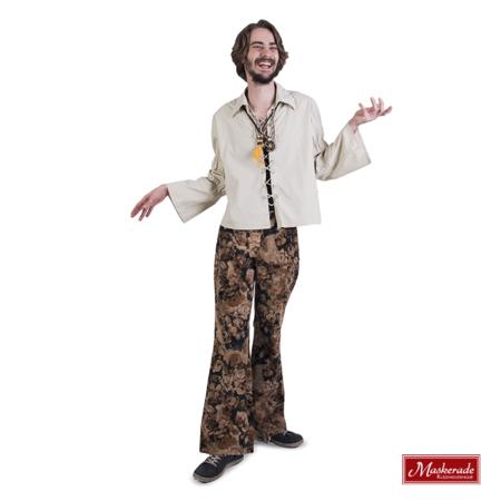 Lichtbruine hippie blouse met bloemenbroek