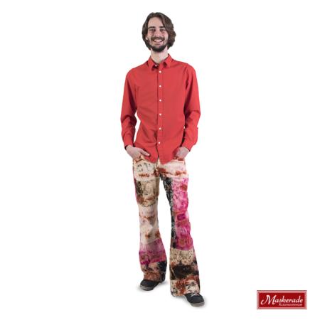Oranje hippie blouse met batik ribbroek