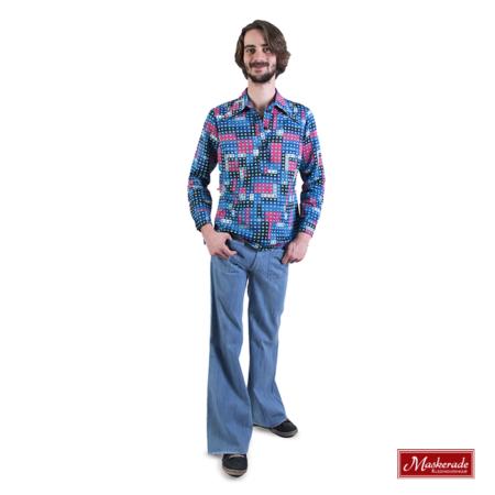 Blauw geprinte hippie blouse met spijkerbroek