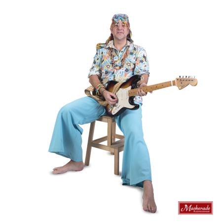 Blauwe gebloemde hippie blouse met broek
