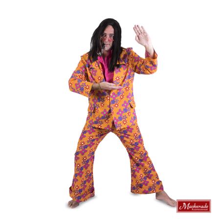 Oranje gebloemd hippie pak
