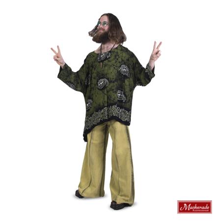 Groen zwarte hippie blouse met groene broek
