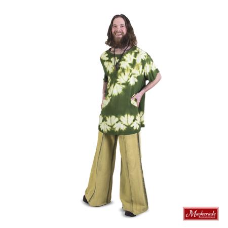 Groen witte hippie blouse met groene broek
