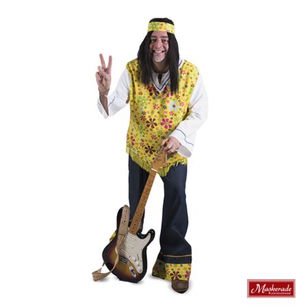 Gele hippie blouse met blauwe broek