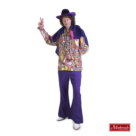Felgebloemde hippie blouse met paarse broek