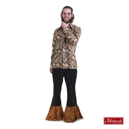 Lichtbruine hippie blouse met zwarte broek