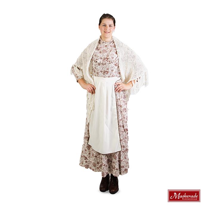 8842aa6248f30f Witte met bruin gebloemde jurk huren bij Maskerade Kledingverhuur