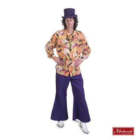 Gebloemde hippie blouse met paarse broek