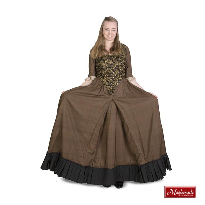Hedendaags Bruine renaissance jurk met gouden lijfje huren bij Maskerade KA-13